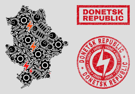 Composition of mosaic power supply Donetsk Republic map and grunge seals. Mosaic vector Donetsk Republic map is composed with tools and power symbols. Black and red colors used. Illustration