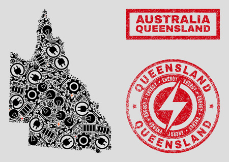 Composition of mosaic power supply Australian Queensland map and grunge watermarks. Collage vector Australian Queensland map is created with service and power icons. Black and red colors used.