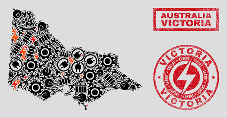 Composition of mosaic power supply Australian Victoria map and grunge stamp seals. Mosaic vector Australian Victoria map is designed with tools and electric elements. Black and red colors used.
