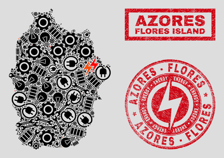 Composition of mosaic power supply Flores Island of Azores map and grunge stamp seals. Mosaic vector Flores Island of Azores map is designed with workshop and power symbols. Black and red colors used. 版權商用圖片 - 124421118