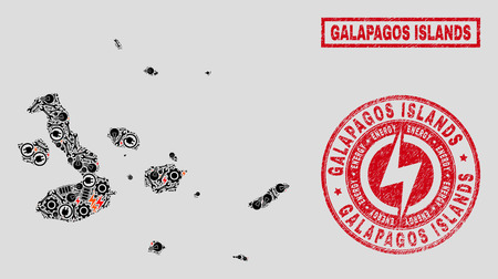 Composition of mosaic power supply Galapagos Islands map and grunge watermarks. Mosaic vector Galapagos Islands map is created with service and power symbols. Black and red colors used.