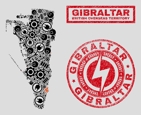 Composition of mosaic power supply Gibraltar map and grunge seals. Collage vector Gibraltar map is composed with tools and bulb icons. Black and red colors used. Abstraction for power supply services.