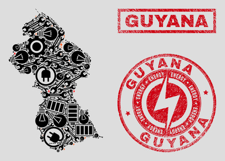 Composition of mosaic power supply Guyana map and grunge seals. Mosaic vector Guyana map is created with service and electric icons. Black and red colors used. Abstraction for power supply business.