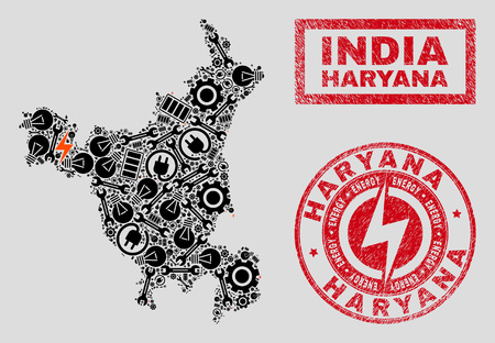 Composition of mosaic power supply Haryana State map and grunge seals. Mosaic vector Haryana State map is composed with service and power icons. Black and red colors used.