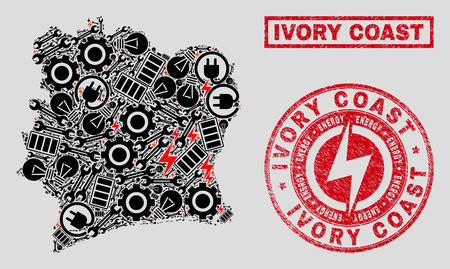 Composition of mosaic power supply Ivory Coast map and grunge watermarks. Mosaic vector Ivory Coast map is designed with service and energy icons. Black and red colors used.