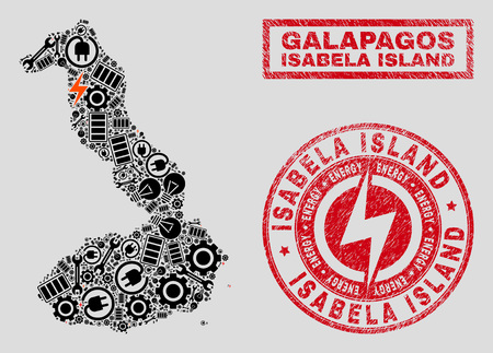 Composition of mosaic power supply Isabela Island of Galapagos map and grunge seals. Collage vector Isabela Island of Galapagos map is composed with gear and electric elements. Illustration