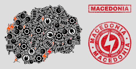 Composition of mosaic power supply Macedonia map and grunge stamps. Mosaic vector Macedonia map is composed with tools and energy elements. Black and red colors used.