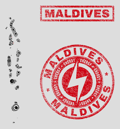 Composition of mosaic power supply Maldives map and grunge watermarks. Mosaic vector Maldives map is designed with service and innovation elements. Black and red colors used.  イラスト・ベクター素材