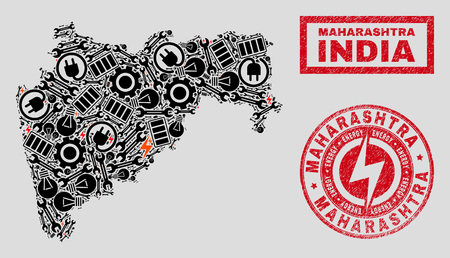 Composition of mosaic power supply Maharashtra State map and grunge stamp seals. Mosaic vector Maharashtra State map is created with hardware and innovation symbols. Black and red colors used.