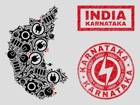 Composition of mosaic power supply Karnataka State map and grunge seals. Mosaic vector Karnataka State map is created with gear and innovation icons. Black and red colors used.