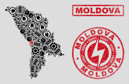 Composition of mosaic power supply Moldova map and grunge stamps. Mosaic vector Moldova map is composed with tools and electric icons. Black and red colors used. Concept for power supply services. Ilustración de vector