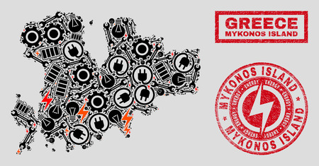 Composition of mosaic power supply Mykonos Island map and grunge seals. Mosaic vector Mykonos Island map is designed with tools and electric elements. Black and red colors used.