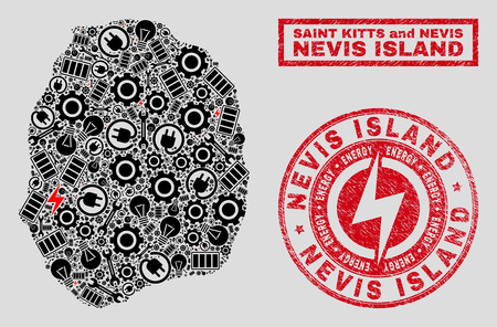 Composition of mosaic power supply Nevis Island map and grunge stamps. Mosaic vector Nevis Island map is designed with equipment and bulb elements. Black and red colors used.