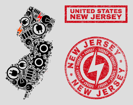 Composition of mosaic power supply New Jersey State map and grunge stamp seals. Collage vector New Jersey State map is designed with hardware and electric icons. Black and red colors used. Illusztráció