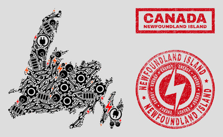 Composition of mosaic power supply Newfoundland Island map and grunge stamp seals. Mosaic vector Newfoundland Island map is created with workshop and power icons. Black and red colors used. Banque d'images - 124421605