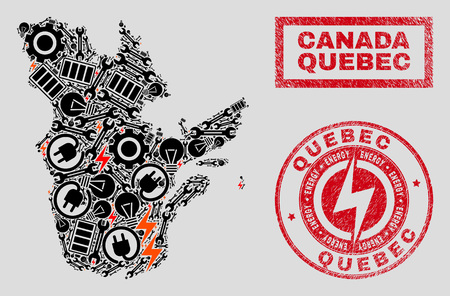 Composition of mosaic power supply Quebec Province map and grunge stamp seals. Mosaic vector Quebec Province map is created with workshop and power icons. Black and red colors used.