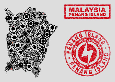 Composition of mosaic electricity Penang Island map and grunge watermarks. Mosaic vector Penang Island map is composed with workshop and power elements. Black and red colors used. Illustration