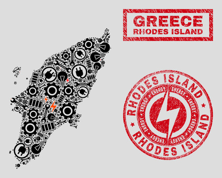 Composition of mosaic electricity Rhodes Island map and grunge stamp seals. Mosaic vector Rhodes Island map is composed with service and electricity symbols. Black and red colors used. Vettoriali