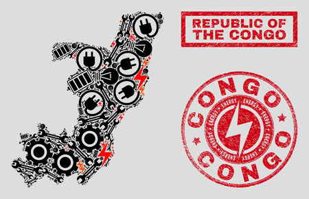Composition of mosaic power supply Republic of the Congo map and grunge seals. Collage vector Republic of the Congo map is composed with repair and lamp icons. Black and red colors used.