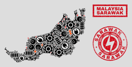 Composition of mosaic power supply Sarawak State map and grunge watermarks. Mosaic vector Sarawak State map is composed with hardware and energy symbols. Black and red colors used.