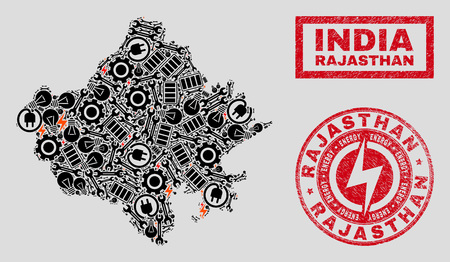 Composition of mosaic power supply Rajasthan State map and grunge seals. Collage vector Rajasthan State map is designed with gear and energy symbols. Black and red colors used. Иллюстрация