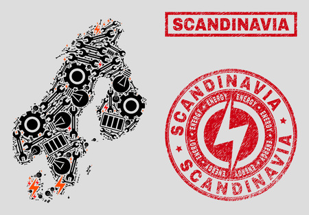 Composition of mosaic power supply Scandinavia map and grunge stamps. Collage vector Scandinavia map is created with repair and power elements. Black and red colors used.