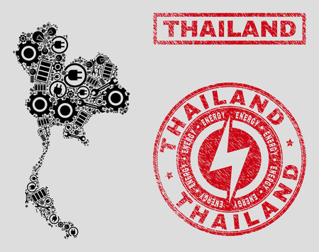Composition of mosaic power supply Thailand map and grunge stamp seals. Mosaic vector Thailand map is created with workshop and energy elements. Black and red colors used.