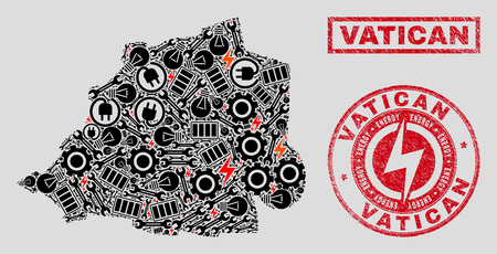 Composition of mosaic power supply Vatican map and grunge stamp seals. Mosaic vector Vatican map is designed with gear and power symbols. Black and red colors used. Concept for power supply business. Çizim