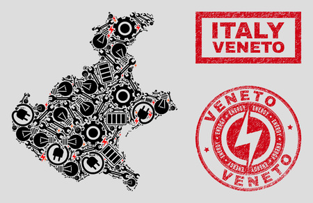 Composition of mosaic power supply Veneto region map and grunge stamps. Collage vector Veneto region map is created with service and power elements. Black and red colors used.