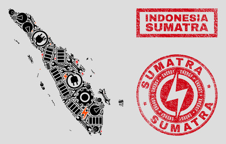 Composition of mosaic power supply Sumatra map and grunge watermarks. Mosaic vector Sumatra map is composed with gear and energy icons. Black and red colors used. Templates for power supply business. Illustration