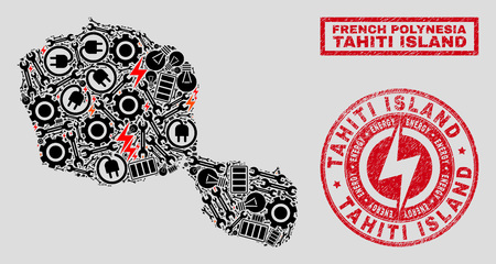 Composition of mosaic power supply Tahiti Island map and grunge seals. Collage vector Tahiti Island map is designed with workshop and power icons. Black and red colors used.