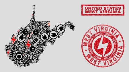 Composition of mosaic power supply West Virginia State map and grunge stamp seals. Collage vector West Virginia State map is created with hardware and power icons. Black and red colors used.