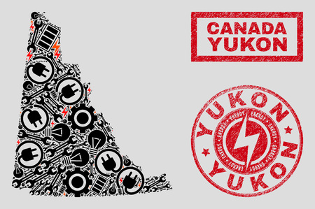Composition of mosaic power supply Yukon Province map and grunge stamps. Mosaic vector Yukon Province map is composed with tools and energy icons. Black and red colors used.