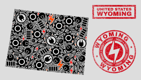 Composition of mosaic power supply Wyoming State map and grunge stamp seals. Mosaic vector Wyoming State map is designed with equipment and electricity elements. Black and red colors used.