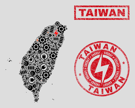 Composition of mosaic power supply Taiwan map and grunge watermarks. Mosaic vector Taiwan map is created with tools and power symbols. Black and red colors used. Templates for power supply business.
