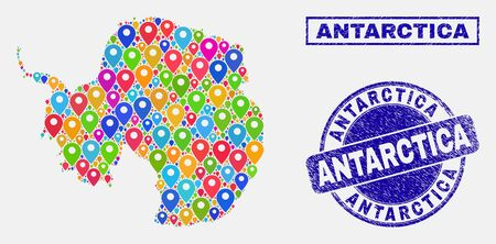 Vector bright mosaic Antarctica continent map and grunge stamp seals. Abstract Antarctica continent map is created from random colorful navigation markers. Stamp seals are blue,  イラスト・ベクター素材