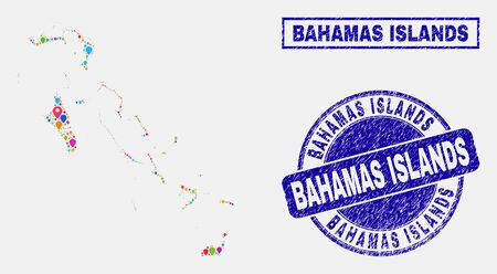 Vector colorful mosaic Bahamas Islands map and grunge stamp seals. Flat Bahamas Islands map is composed from random colorful navigation icons. Stamp seals are blue, with rectangle and rounded shapes. Ilustrace