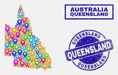 Vector colorful mosaic Australian Queensland map and grunge stamp seals. Flat Australian Queensland map is formed from scattered bright site symbols. Stamp seals are blue,