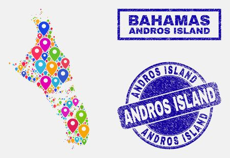 Vector bright mosaic Andros Island of Bahamas map and grunge watermarks. Abstract Andros Island of Bahamas map is created from randomized bright site locations. Watermarks are blue, Ilustrace