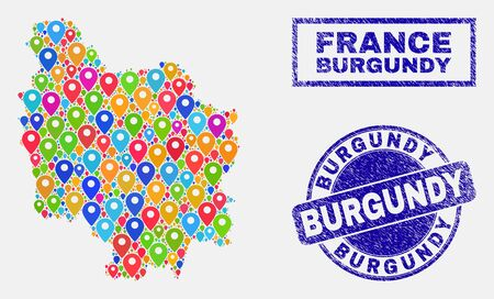 Vector bright mosaic Burgundy Province map and grunge watermarks. Abstract Burgundy Province map is formed from scattered bright map locations. Stamps are blue, with rectangle and rounded shapes.