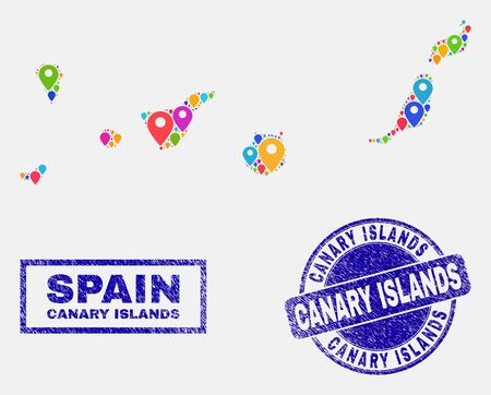 Vector bright mosaic Canary Islands map and grunge stamp seals. Abstract Canary Islands map is created from randomized bright site locations. Stamp seals are blue, with rectangle and rounded shapes. 向量圖像