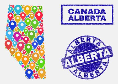 Vector bright mosaic Alberta Province map and grunge seals. Flat Alberta Province map is designed from random bright site locations. Seals are blue, with rectangle and rounded shapes. 일러스트