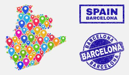 Vector colorful mosaic Barcelona Province map and grunge stamps. Flat Barcelona Province map is composed from random colorful map icons. Stamps are blue, with rectangle and round shapes. 일러스트
