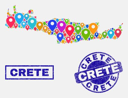 Vector bright mosaic Crete map and grunge watermarks. Abstract Crete map is formed from randomized bright navigation markers. Watermarks are blue, with rectangle and rounded shapes.
