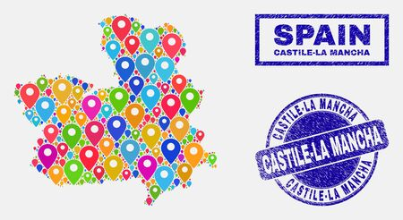 Vector colorful mosaic Castile-La Mancha Province map and grunge stamp seals. Abstract Castile-La Mancha Province map is composed from randomized colorful navigation markers. Stamp seals are blue, Ilustração