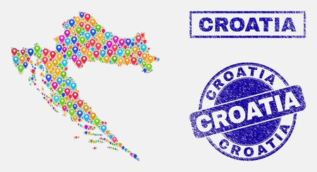 Vector bright mosaic Croatia map and grunge stamp seals. Abstract Croatia map is designed from random colorful geo pins. Seals are blue, with rectangle and round shapes.