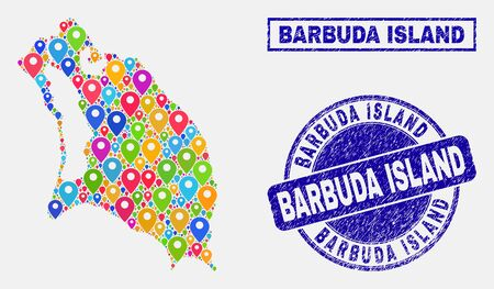 Vector bright mosaic Barbuda Island map and grunge seals. Abstract Barbuda Island map is composed from random bright map locations. Stamp seals are blue, with rectangle and round shapes.