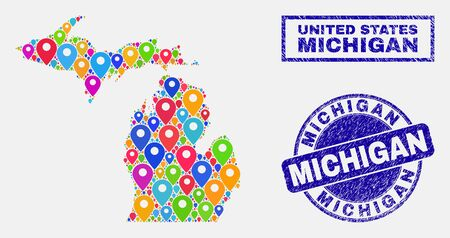 Vector colorful mosaic Michigan State map and grunge seals. Abstract Michigan State map is formed from randomized colorful map positions. Stamp seals are blue, with rectangle and rounded shapes.
