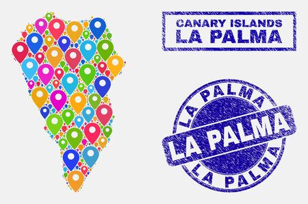 Vector colorful mosaic La Palma Island map and grunge stamp seals. Flat La Palma Island map is created from scattered colorful site pins. Stamp seals are blue, with rectangle and rounded shapes.