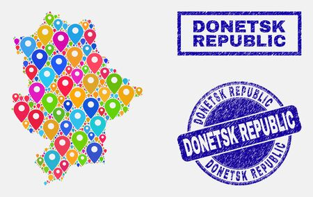 Vector colorful mosaic Donetsk Republic map and grunge seals. Abstract Donetsk Republic map is composed from randomized colorful navigation pins. Stamp seals are blue, with rectangle and round shapes.